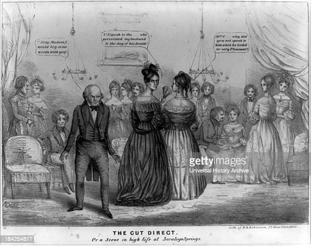 Political cartoon 'The Cut Direct' Or 'A Scene in High Life at Saratoga Springs' by Henry Dacre Satirises President Van Buren's summer visit to the...