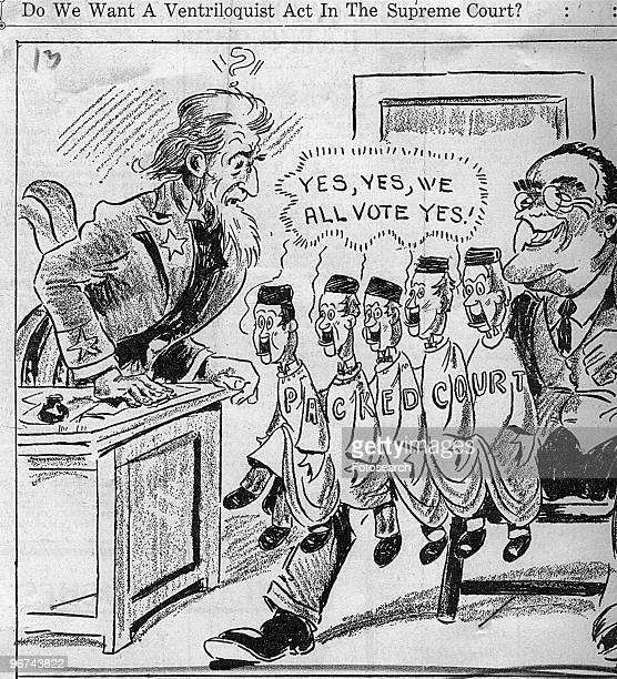 Political cartoon with the caption 'Do We Want A Ventriloquist Act In The Supreme Court' The cartoon a criticism of FDR's New Deal depicts President...