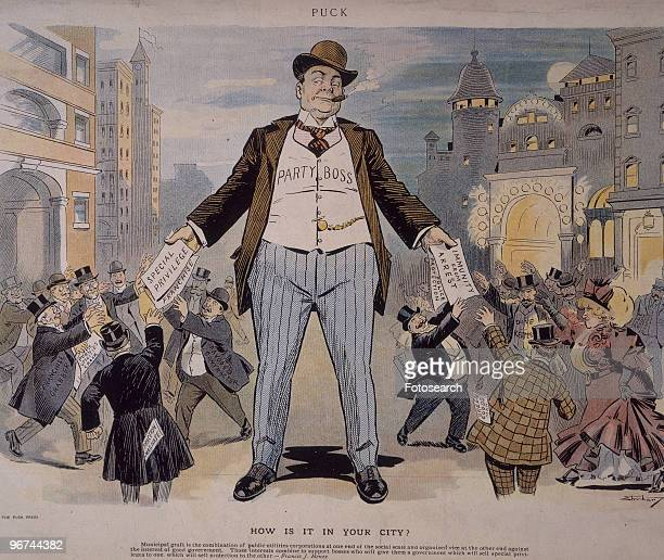 Political cartoon with the caption 'How Is It In Your City' which appeared in Puck magazine The cartoon depicts a large figure 'Party Boss' handing...