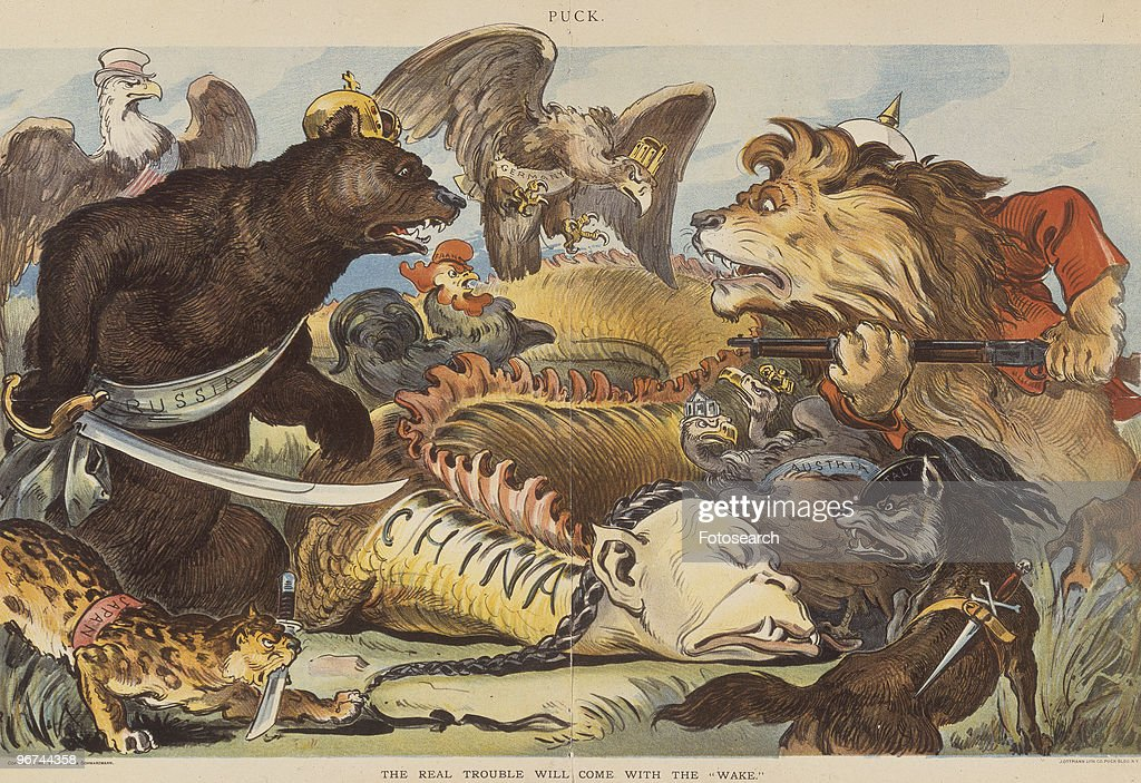 Political cartoon with the caption 'The Real Trouble Will Come With The Wake,' which appeared in Puck magazine. The cartoon Animal features personifications of Russia, England, Germany, Austria, Italy, France, Japan fighting over body of China (dragon); the US (eagle) looks on. USA, 15 August 1900. (Photo by Fotosearch/Getty Images).