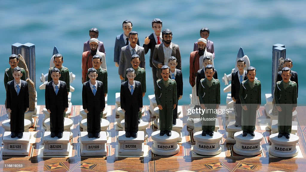 A political chess set on display at Kabatas school during the Queen's State Visit to Turkey on May 15, 2008 in Istanbul, Turkey.