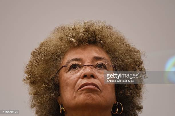US political civilrights activist Angela Davis attends a meeting 'The meaning of white supremacy today' held at 'Roma TRE University' on March 14...