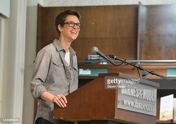 Political commentator and MSNBC host Rachel Maddow promotes the new book 'Drift The Unmooring of American Military Power' at the Barnes Noble Union...