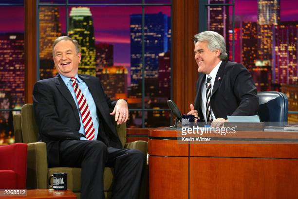 Political commentator Bill O'Reilly appears on 'The Tonight Show with Jay Leno' at the NBC Studios on March 13 2003 in Burbank California