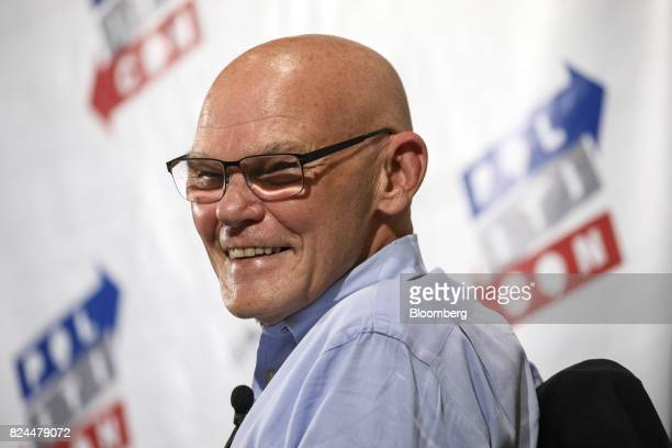 Political commentator James Carville smiles during the Politicon convention inside the Pasadena Convention Center in Pasadena California US on...