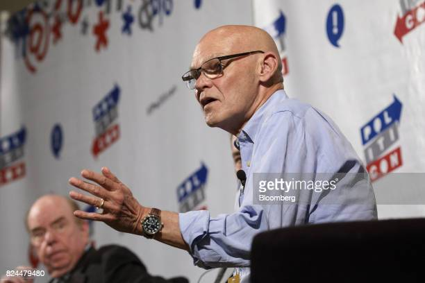 Political commentator James Carville speaks during the Politicon convention inside the Pasadena Convention Center in Pasadena California US on...