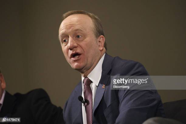 Political commentator Paul Begala speaks during the Politicon convention inside the Pasadena Convention Center in Pasadena California US on Saturday...