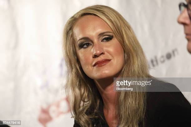Political commentator Scottie Nell Hughes listens during the Politicon convention inside the Pasadena Convention Center in Pasadena California US on...