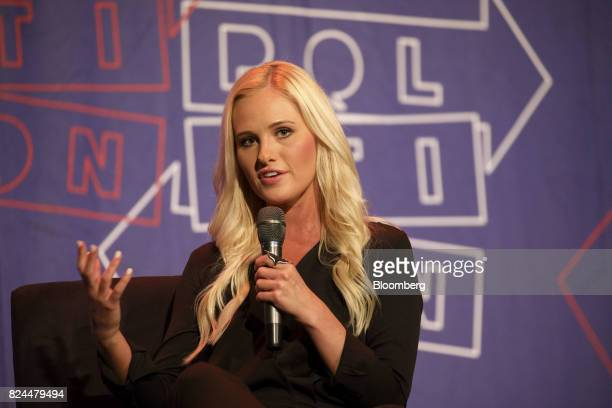 Political commentator Tomi Lahren speaks during a panel discussion with comedian Chelsea Handler not pictured at the Politicon convention inside the...