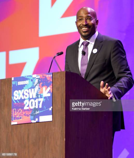 Political commentator Van Jones speaks onstage at 'The Messy Truth with Van Jones' during 2017 SXSW Conference and Festivals at Austin Convention...
