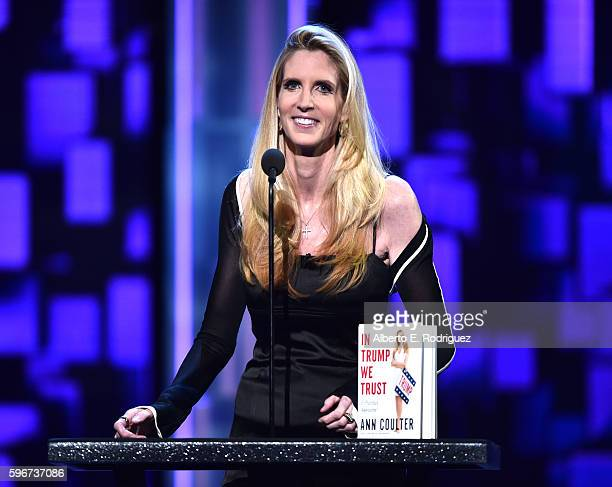 Political commentator/author Ann Coulter speaks onstage at The Comedy Central Roast of Rob Lowe at Sony Studios on August 27 2016 in Los Angeles...