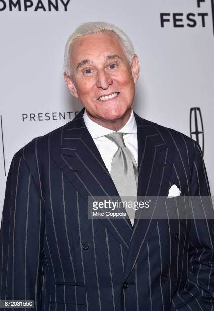 Political consultant Roger Stone attends the 'Get Me Roger Stone' Premiere during the 2017 Tribeca Film Festival at SVA Theatre on April 23 2017 in...