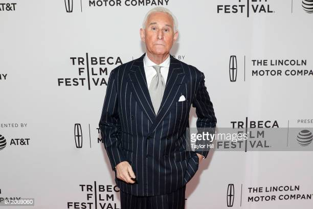 Political consultant Roger Stone attends the premiere of 'Get Me Roger Stone' during the 2017 Tribeca Film Festival at SVA Theatre on April 23 2017...