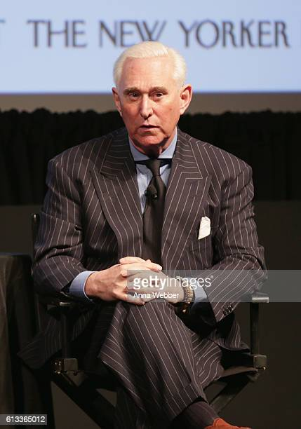 Political consultant Roger Stone speaks onstage during The New Yorker Festival 2016 'President Trump Life As We May Know It' featuring Max Boot Amy...