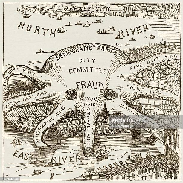 Political corruption in New York City Demcratic Party Tammany control original caption 'The Great New York OctopusPolitics on Manhattan Island' a...