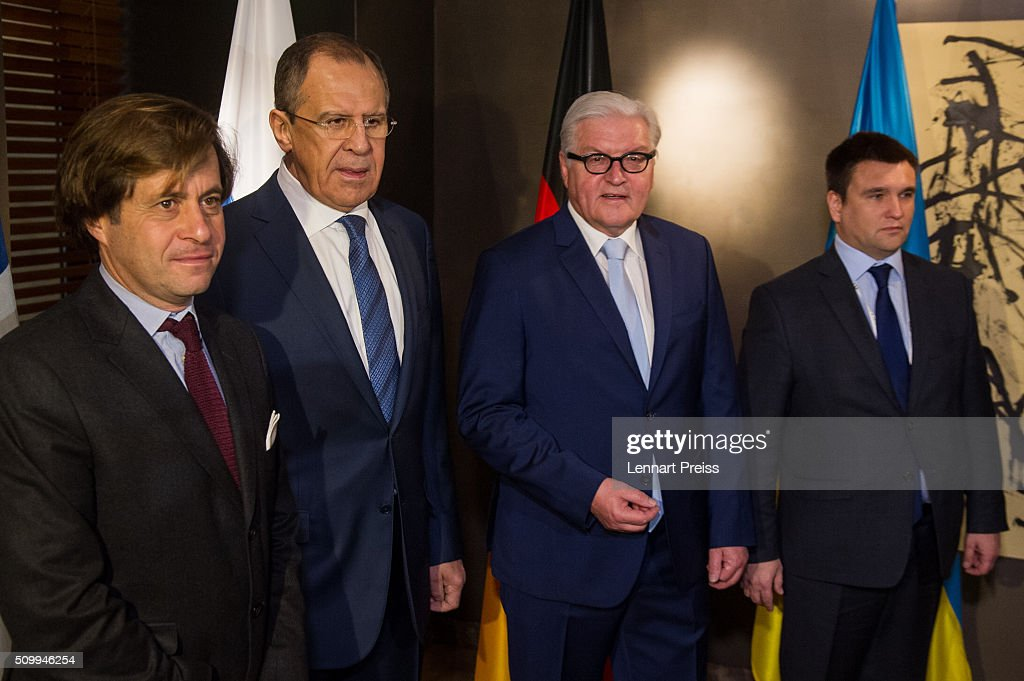 Political Director of the French Foreign Ministry Nicolas de Riviere, Russian Foreign Minister Sergei Lavrov, German Foreign Minister <a gi-track='captionPersonalityLinkClicked' href=/galleries/search?phrase=Frank-Walter+Steinmeier&family=editorial&specificpeople=603500 ng-click='$event.stopPropagation()'>Frank-Walter Steinmeier</a> and Ukrainian Foreign Minister <a gi-track='captionPersonalityLinkClicked' href=/galleries/search?phrase=Pavlo+Klimkin&family=editorial&specificpeople=12902005 ng-click='$event.stopPropagation()'>Pavlo Klimkin</a> pose before their meeting at the 2016 Munich Security Conference at the Bayerischer Hof hotel on February 13, 2016 in Munich, Germany. The annual event brings together government representatives and security experts from across the globe and this year the conflict in Syria will be the main issue under discussion.
