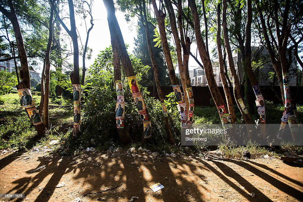 Political election posters are seen hanging from trees ahead of the presidential election in Nairobi, Kenya, on Friday, March 1, 2013. Next week's presidential vote will be the first since disputed elections in 2007 triggered ethnic fighting in which more than 1,100 people died and another 350,000 fled their homes. Photographer: Trevor Snapp/Bloomberg via Getty Images