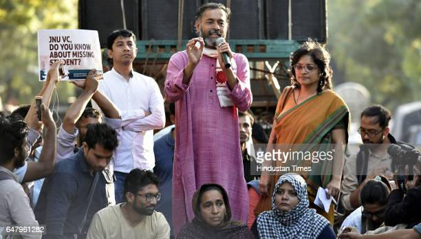 Political Leader Yogendra Yadav addressing the students and teachers During the citizens protest march for Justice and Save Delhi University end to...