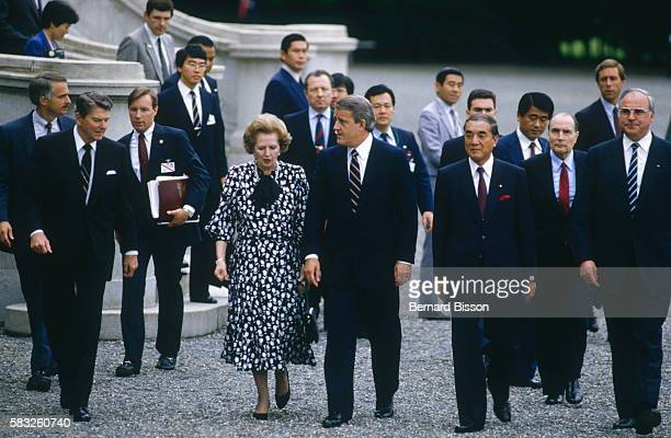 Political leaders at the Tokyo Summit of the Seven Most Industrialized Countries are left to right Ronald Reagan Margaret Thatcher Brian Mulroney...