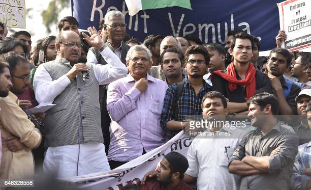 Political leaders KC Tyagi Sita Ram Yechury along with Kanhaiya Kumar during the AISA JNUTA and Delhi University Students' protest march against ABVP...