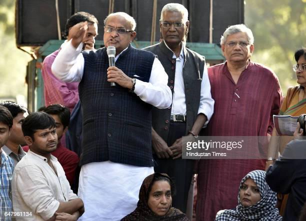 Political leaders KC Tyagi Sita Ram Yechury along with Kanhaiya Kumar former President of the Jawaharlal Nehru University Students' Union During the...
