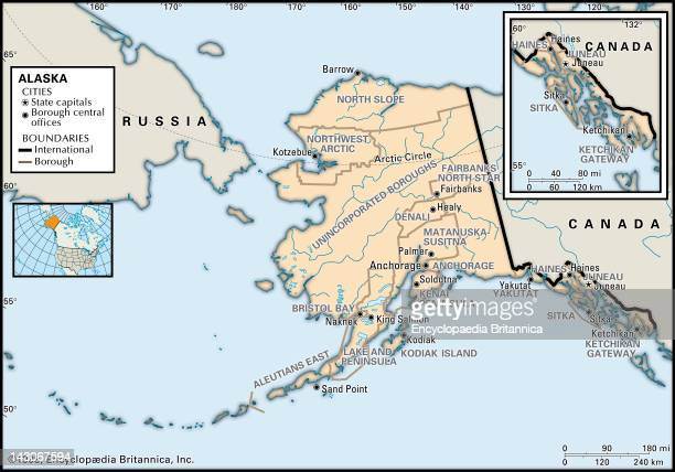 Alaska Usa Map Stock Photos And Pictures Getty Images - Alaska county map