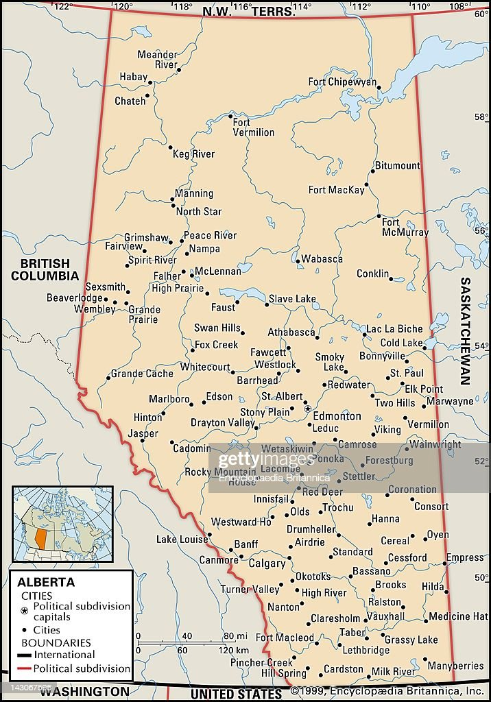 Political Map Of Alberta Pictures Getty Images - Political canada map