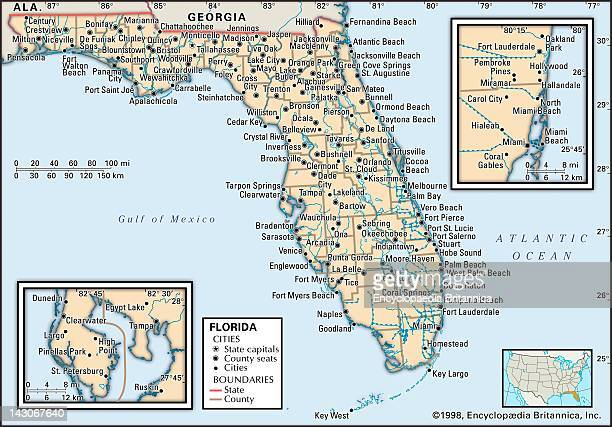 Political Map Of Florida Political Map Of The State Of Florida With Insets Of The Miami And Tampa/St Petersburg Metropolitan Regions
