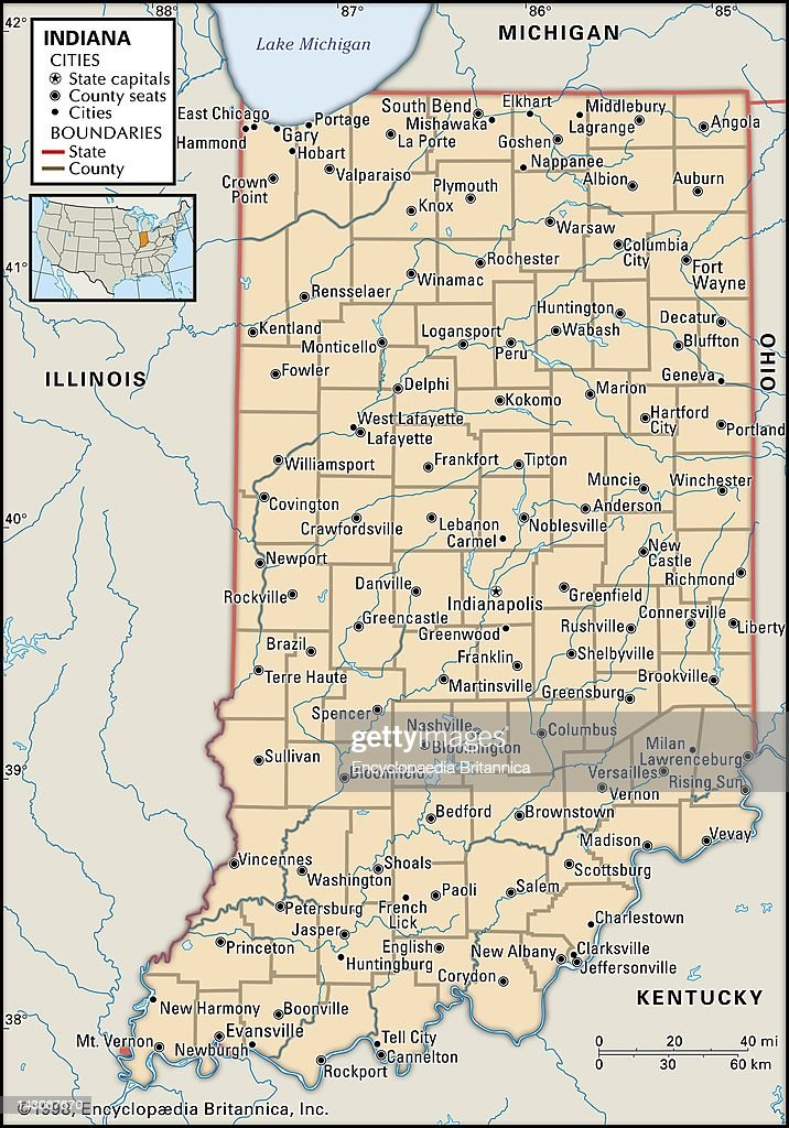 Political Map Of Indiana Pictures Getty Images - Map of state of indiana