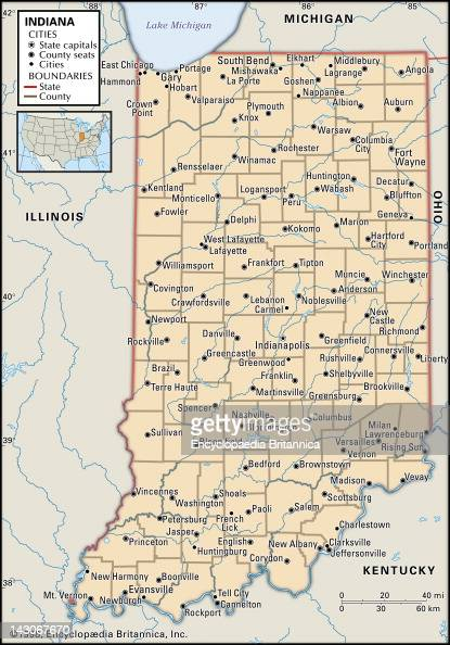 Political Map Of Indiana Pictures Getty Images - Map of indiana cities