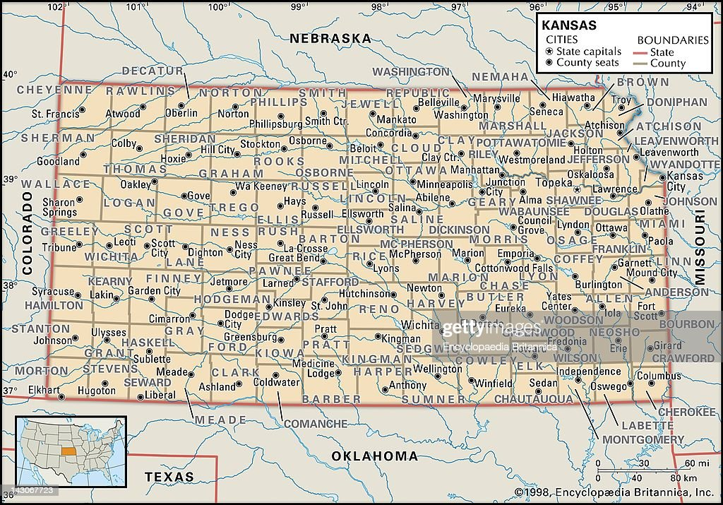 Political Map Of Kansas Pictures Getty Images - Map of kansas