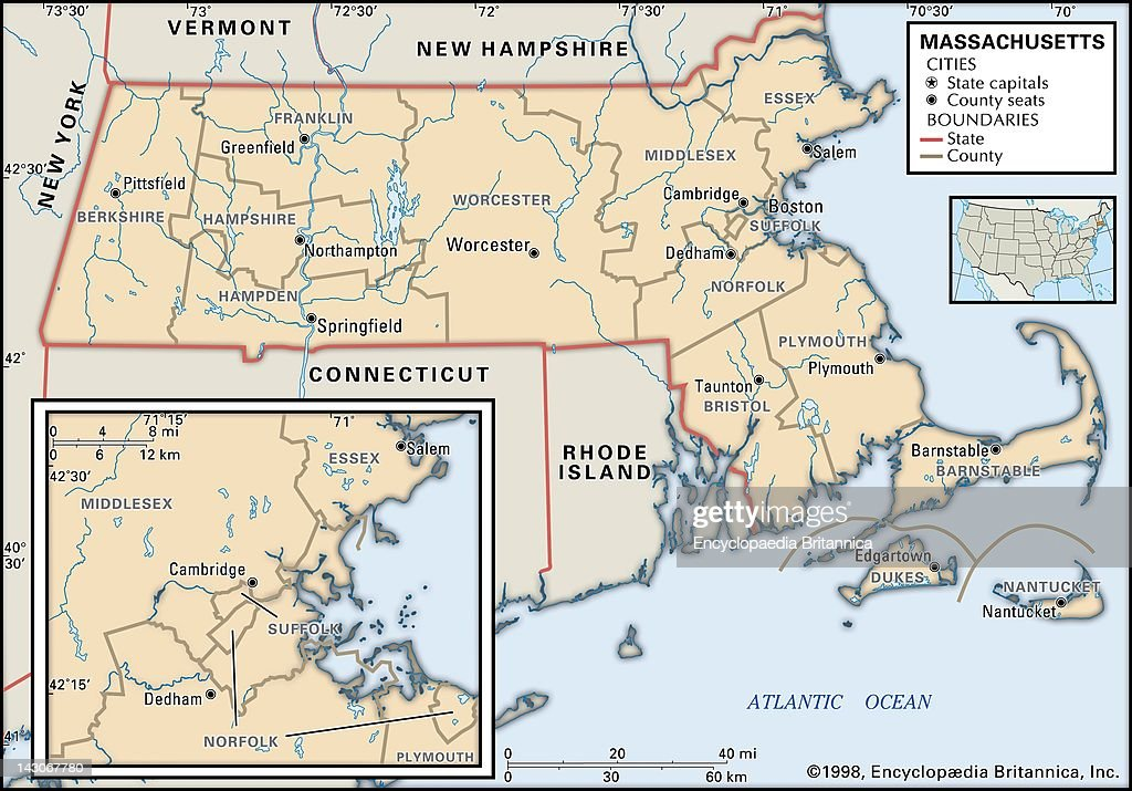 Political Map Of Massachusetts Pictures Getty Images - Massachusetts political map