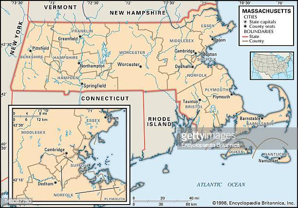 Political Map Of Massachusetts Political Map Of The State Of Massachusetts With An Inset Of The Boston Area Showing Counties And County Seats