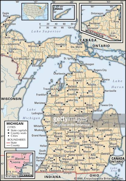 Political Map Of Michigan Pictures  Getty Images