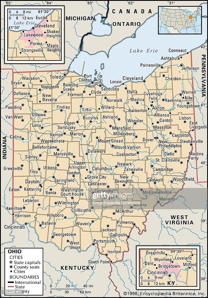 Political Map Of Ohio Pictures Getty Images - Map of state of ohio