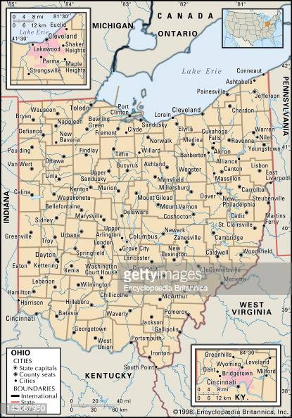 Political Map Of Ohio Pictures Getty Images - Map of ohio cities