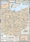 Political Map Of Ohio Political Map Of The State Of Ohio Showing Counties And County Seats Includes Insets Of The Cleveland And Cincinnati...