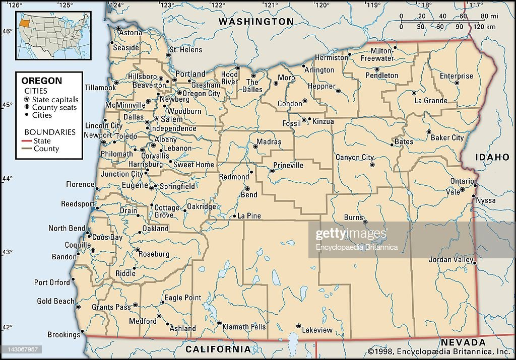 Political Map Of Oregon Pictures Getty Images - Map of the state of oregon