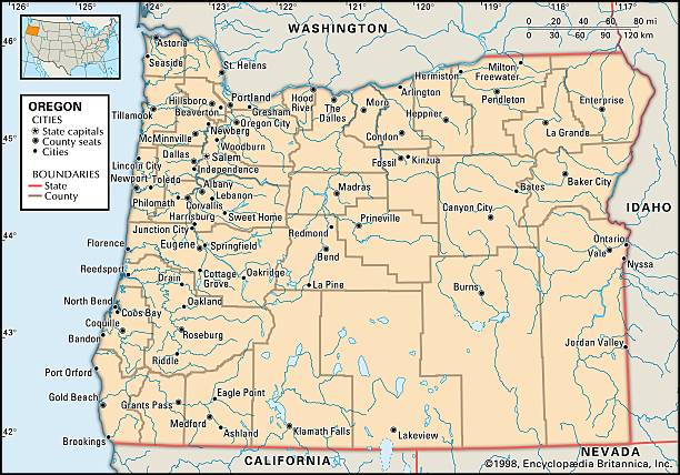 Political Map Of Oregon Pictures Getty Images - Map of orgeon