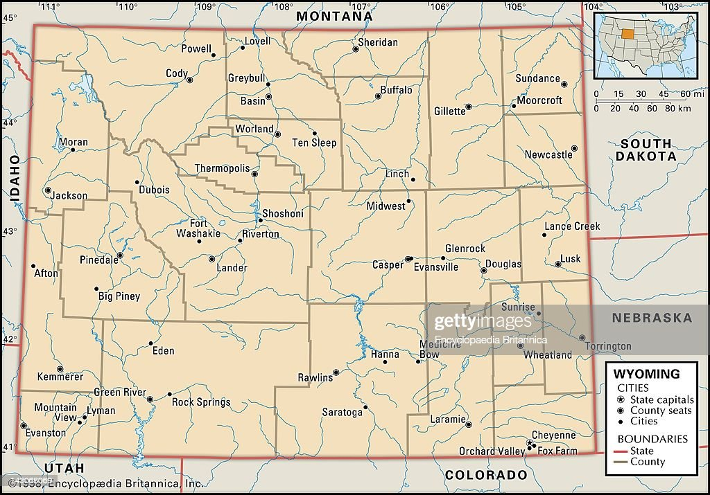 Political Map Of Wyoming Pictures Getty Images - Montana political map