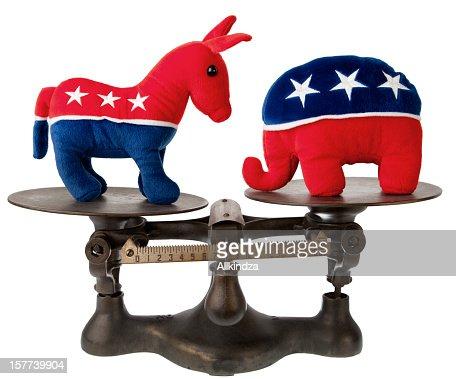 US political mascotts on antique scale