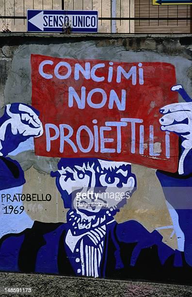 Political mural in Orgosolo in the Barbagia region.
