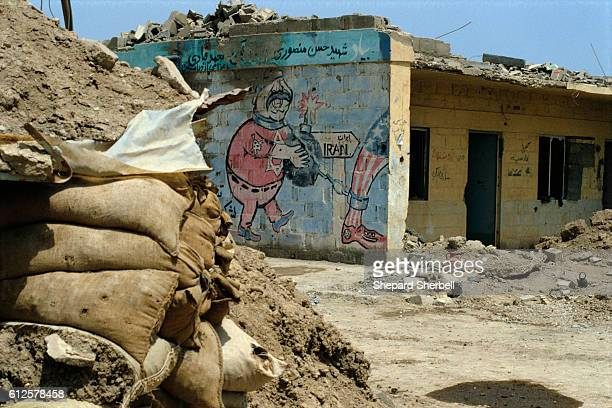 A political mural is all that remains on the side of a building destroyed in the IranIraq War The building was destroyed as the Iraqis recaptured the...