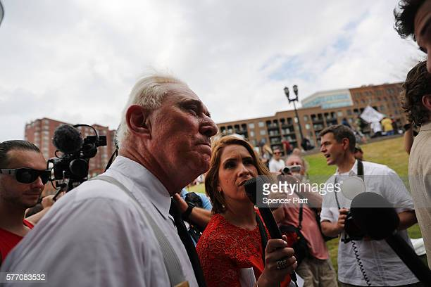 Political operative Roger Stone attends rally on the first day of the Republican National Convention on July 18 2016 in Cleveland Ohio An estimated...