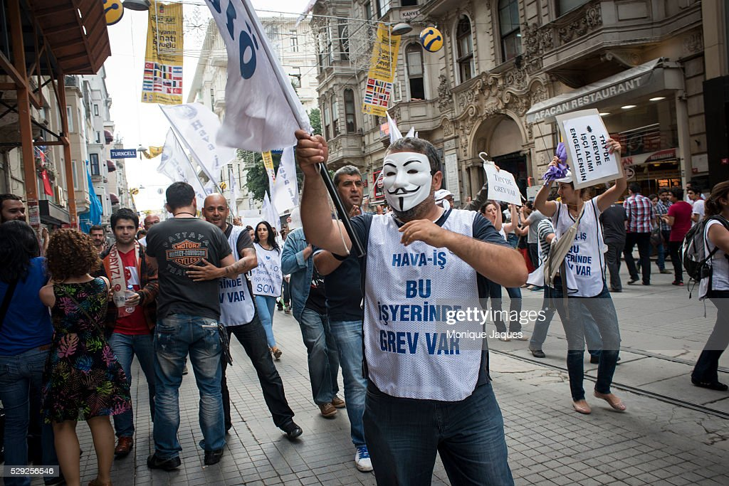 Political parties march peacefully on Istikal Cad on June the 2nd a day after violent clashes occurred Protests in Istanbul Turkey continue into the...
