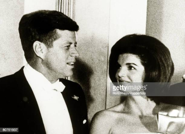 22nd January 1963 President John FKennedy and the First Lady Jacqueline Kennedy looking proudly his way pictured together at a White House dinner in...