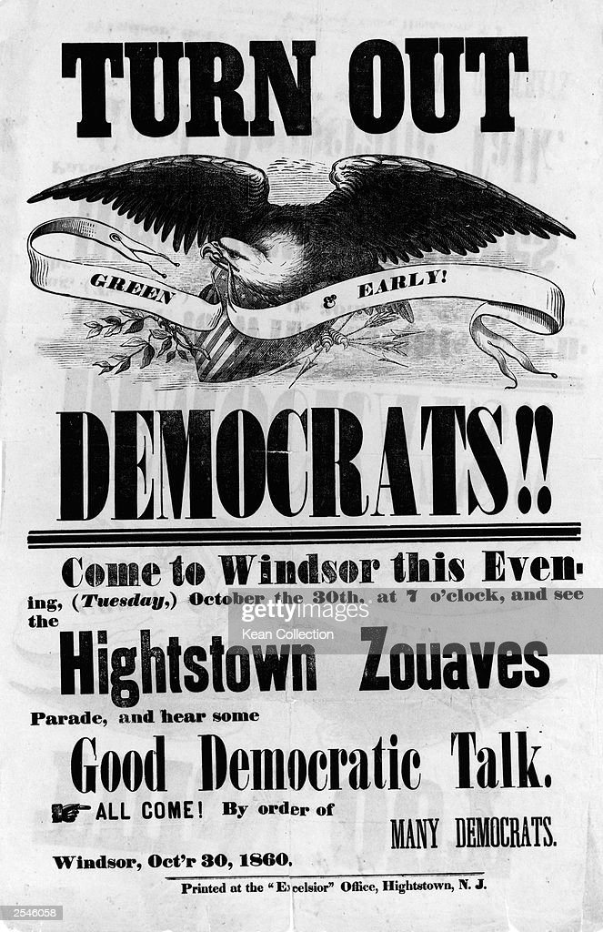 A political poster advertising a rally for Deomcratic ...