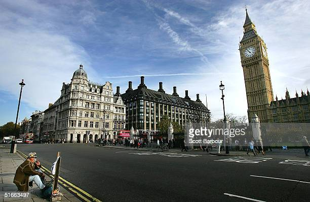 Political protestor Brian Haw sits alone at Parliament Square opposite Britain's Houses of Parliament on November 4 London England The carpenter aged...