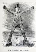 Political satire depicting William Ewart Gladstone and Benjamin Disraeli both former Prime Minister of Britain By Sir John Tenniel an English...