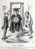 Political satire depicting William Ewart Gladstone and Benjamin Disraeli both former Prime Minister of Britain By Sir John Tenniel an English...